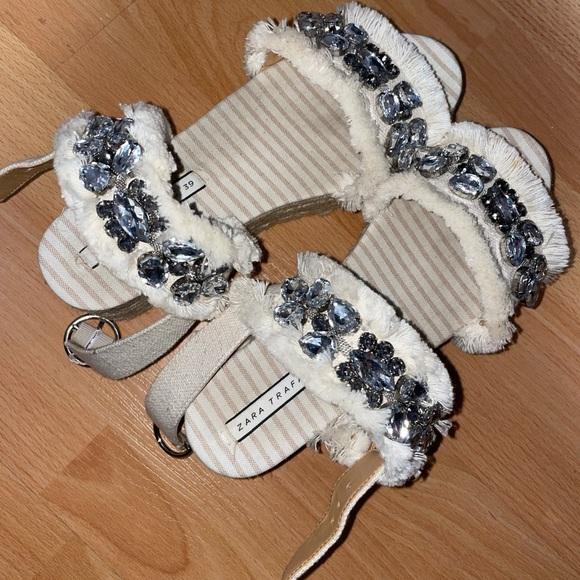 Zara Women's Sandals W/ Crystals - Size 39